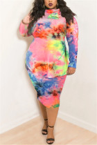 Pink Fashion Casual Plus Size Print Tie Dye Tie-dye Turtleneck Printed Dress