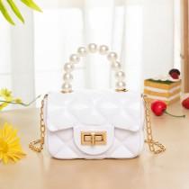 White Fashion Patchwork Solid Chain Strap Crossbody Bag