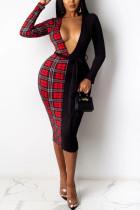 Red Elegant Print Split Joint V Neck Sheath Dresses