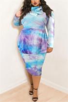 Blue White Fashion Casual Plus Size Print Tie Dye Tie-dye Turtleneck Printed Dress