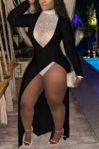 Black Fashion Sexy Patchwork Split Joint Turtleneck Long Sleeve Dress