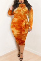 Orange Fashion Casual Plus Size Print Tie Dye Tie-dye Turtleneck Printed Dress