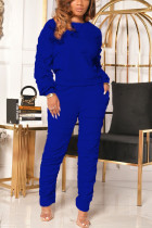 Blue Casual Solid Fold O Neck Long Sleeve Two Pieces