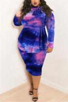 Blue Pink Fashion Casual Plus Size Print Tie Dye Tie-dye Turtleneck Printed Dress
