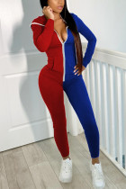 Red and blue Fashion Casual Patchwork Split Joint Hooded Collar Skinny Jumpsuits
