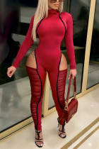 Red Fashion Sexy Patchwork Hollowed Out Split Joint See-through Turtleneck Skinny Jumpsuits
