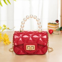 Red Fashion Patchwork Solid Chain Strap Crossbody Bag