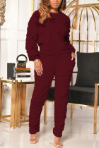 Wine Red Casual Solid Fold O Neck Long Sleeve Two Pieces
