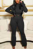 Black Casual Solid Flounce Half A Turtleneck Long Sleeve Two Pieces