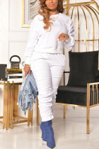 White Casual Solid Fold O Neck Long Sleeve Two Pieces