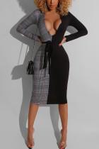 Grey Elegant Print Split Joint V Neck Sheath Dresses