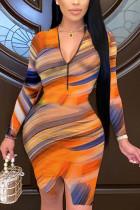 multicolor Sexy Print Slit V Neck Sheath Dresses