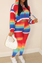 Rainbow color Casual Striped Hooded Collar Long Sleeve Two Pieces