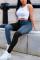 Black Fashion Vintage Stitching Denim Trousers