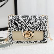 White Fashion Casual Print Patchwork Crossbody Bag
