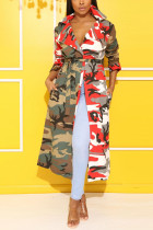 Red Notched Print Camouflage Polyester Others Long Sleeve  cloak