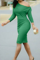 Green Fashion Sexy One Shoulder Long Sleeves One word collar Step Skirt Knee-Length Solid  Casual Dresses