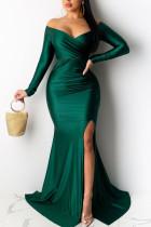 Green Celebrities Solid V Neck Evening Dress Dresses