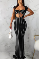 Black Polyester Sexy Fashion Solid Slim fit Striped Regular Sleeveless  Two-Piece Dress