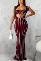 Wine Red Polyester Sexy Fashion Solid Slim fit Striped Regular Sleeveless  Two-Piece Dress