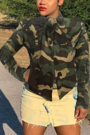 Camouflage O Neck Patchwork Camouflage Solid Old The cowboy Pure Long Sleeve  Denim jacket