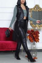 Black Fashion Casual Patchwork Split Joint Turndown Collar Outerwear