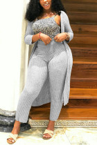 Light Gray Fashion Casual Solid Cardigan Long Sleeve Two Pieces