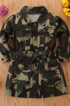Camouflage Fashion Long Sleeve Turndown Collar Camo Print Girl Trench Coat