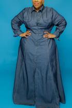 The cowboy blue Sexy Denim Solid Turn-back Collar Denim Dress Plus Size