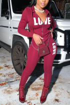 Wine Red Casual Print Cardigan Hooded Collar Long Sleeve Two Pieces