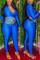 Deep Blue Fashion Casual Solid Basic Zipper Collar Skinny Jumpsuits