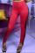 Red Sportswear Solid Tassel Skinny Bottoms