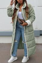 Light Green Street Solid Turndown Collar Outerwear