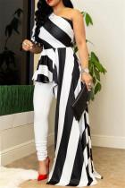 White Fashion Striped Print Single Sleeve Top