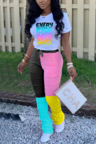 Pink Fashion Print T-shirt Patchwork Pants Casual Set