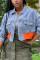 Baby Blue Street Solid Split Joint Turndown Collar Long Sleeve Straight Denim