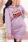 purple Fashion Print Pocket Hooded Collar Dresses