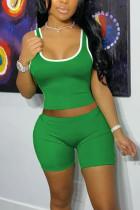 Black Green Fashion Sexy Stitching Sleeveless Top Shorts Set
