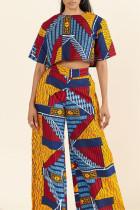 colour Fashion Vintage Print Basic O Neck Long Sleeve Two Pieces