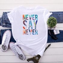 White Fashion Letter Print Short Sleeve T-Shirt