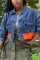Dark Blue Street Solid Split Joint Turndown Collar Long Sleeve Straight Denim
