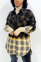 Green Fashion Casual Plaid Print Cardigan Turndown Collar Outerwear