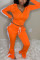 Orange Daily Solid Split Joint Slit Zipper Collar Long Sleeve Two Pieces