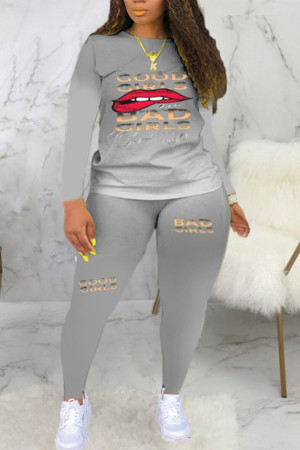 Grey Fashion Casual Gradual Change Print Basic O Neck Plus Size Set