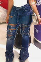 Dark Blue Sexy High Waist Broken Hole Denim Trousers