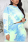 Blue Sexy Casual Print Tie-dye Hooded Collar Plus Size