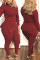 Wine Red Fashion Casual Solid Basic V Neck Long Sleeve Two Pieces