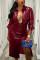 Wine Red British Style Solid Turndown Collar Outerwear