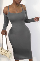 Grey Fashion Daily Adult Twilled Satin Solid Hollowed Out Spaghetti Strap Long Sleeve Mid Calf Sheath Dresses