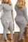 Grey Fashion Casual Solid Basic V Neck Long Sleeve Two Pieces